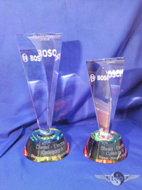 Crystal V Shaped awards in 2 sizes