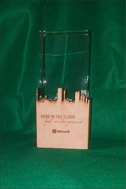 Crystal Rectangle trophy with JHB Skyline