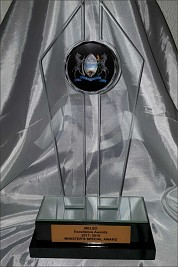 Glass and crystal Ministers trophy