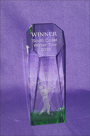 Crystal Lasered Golfer Award with green base